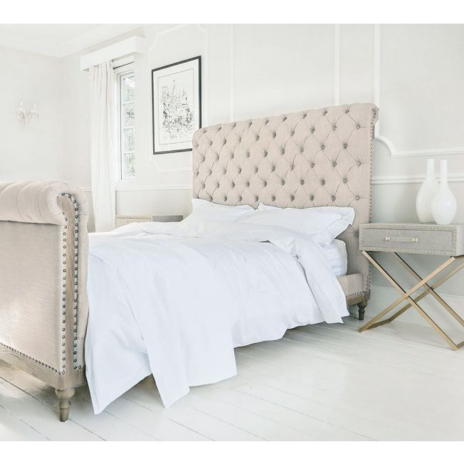 Lottie High Footboard Chesterfield Bed in Natural Linen