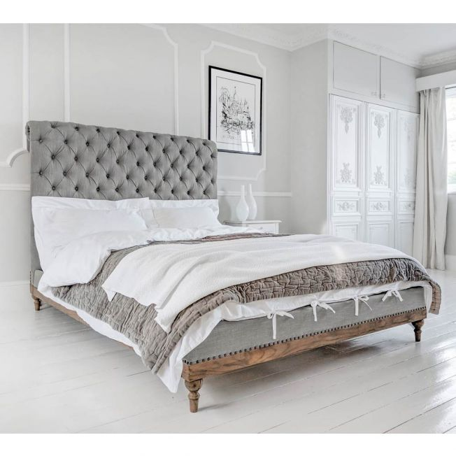 French Button Upholstered Bed
