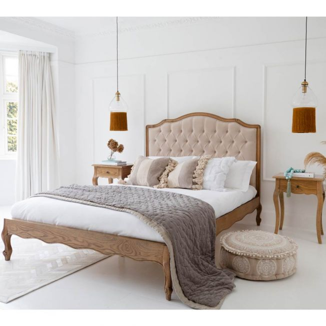 Love Story Taupe Velvet Buttoned Bed