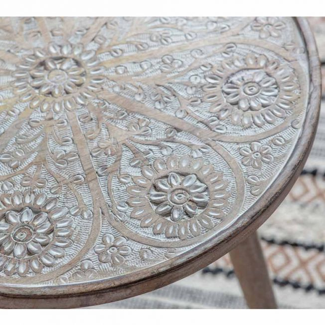 Petals Carved Side Table