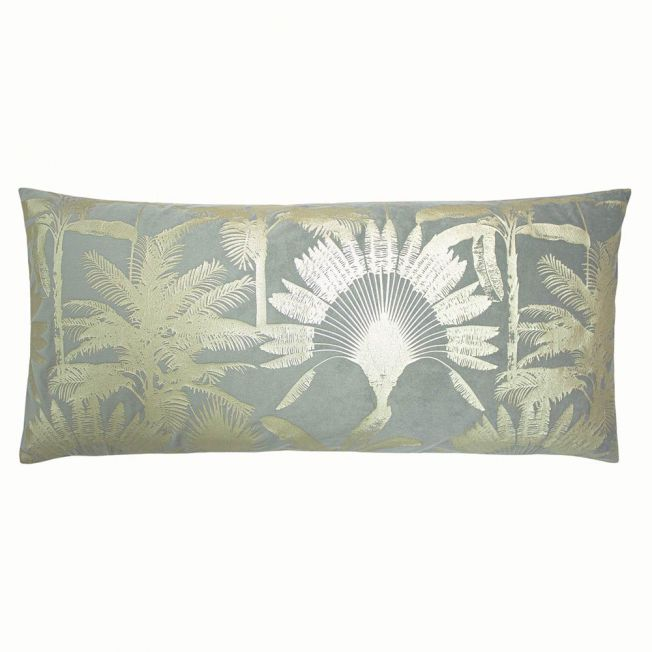 Miami Gold Palm Velvet Cushion in Grey