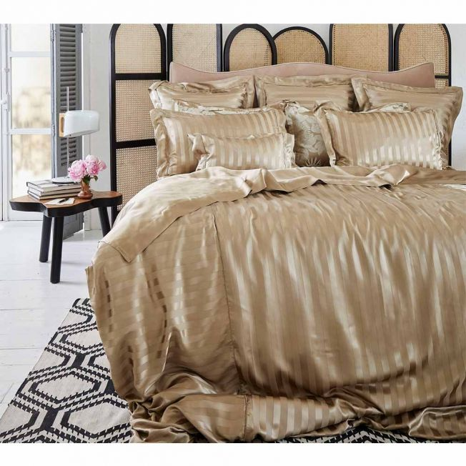 Mulberry Silk Bed Linen by Gingerlily in Golden Stripe