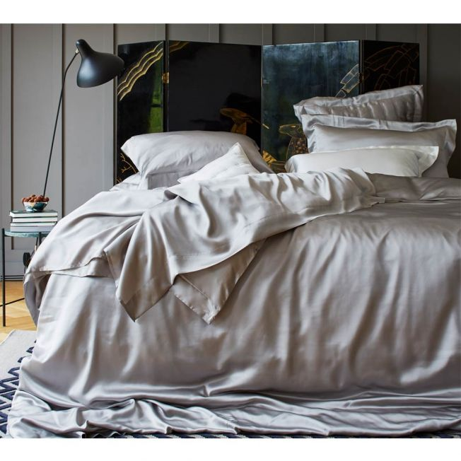 Mulberry Silk Bed Linen by Gingerlily in Silver Grey
