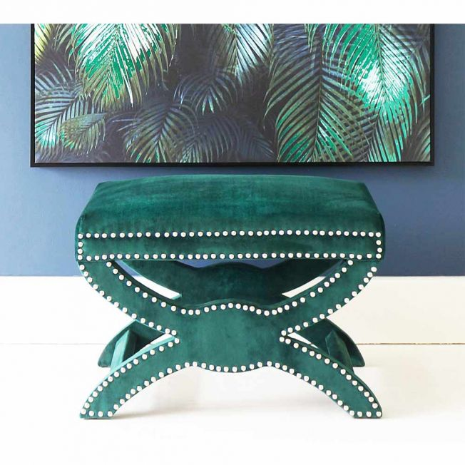 Luxury Jade Green Velvet Stool