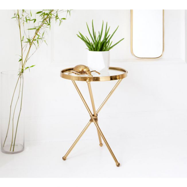 Glass Top Round Gold Finish Side Table