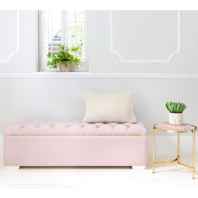 Gorgeous Pink Upholstered Ottoman