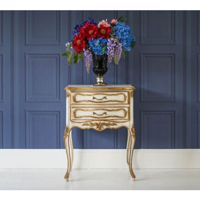 Gold Distressed French Side Table
