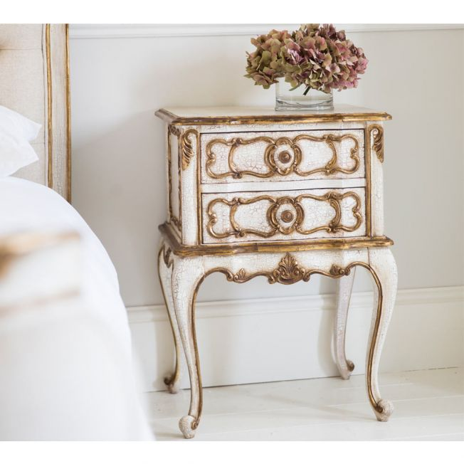 Palais Ivory & Gold Bedside Table