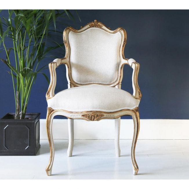 Palais Ivory and Gold Armchair