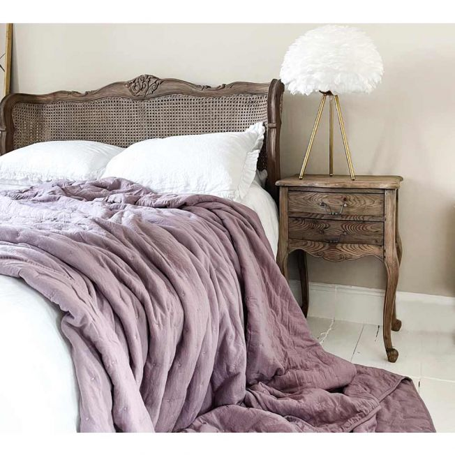 Peachskin Quilted Bedspread in Lilac Pink