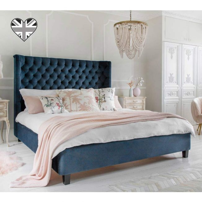 Pimlico Velvet Bed in Prussian Blue