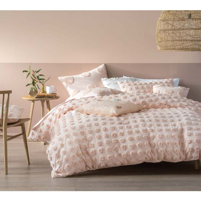 Prancing Pom Pom Bed Linen Set in Blush Pink