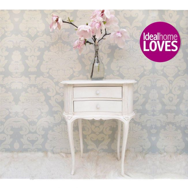 Provencal Kidney White Bedside Table Lifestyle