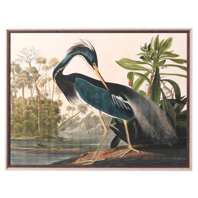 Riverside Heron Framed Wall Art
