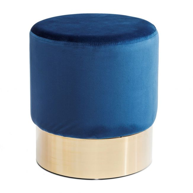 Rotunda Blue Velvet Stool