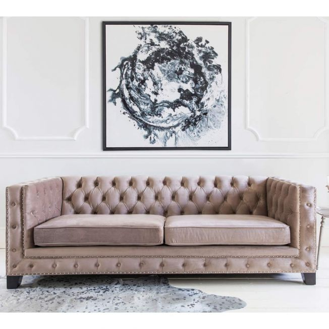 Sancerre-Blush Buttoned Sofa