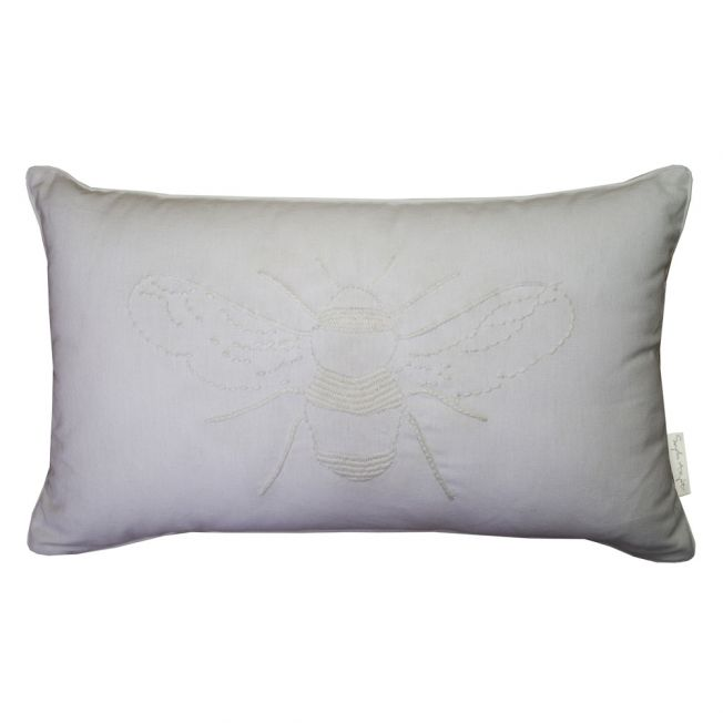 Sophie's Bee Embroidered White Cushion