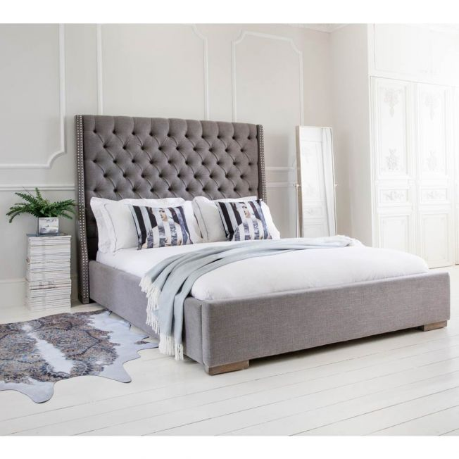 Studs & Buttons Grey Upholstered Bed
