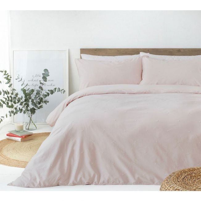Sunday Morning Embroidered Bed Linen Set in Pink