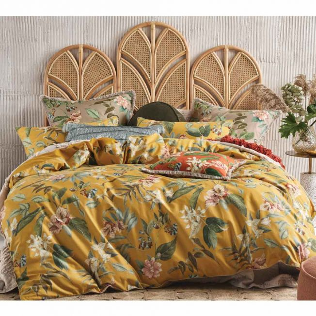 Sunshine Yellow Floral Cotton Bed Linen