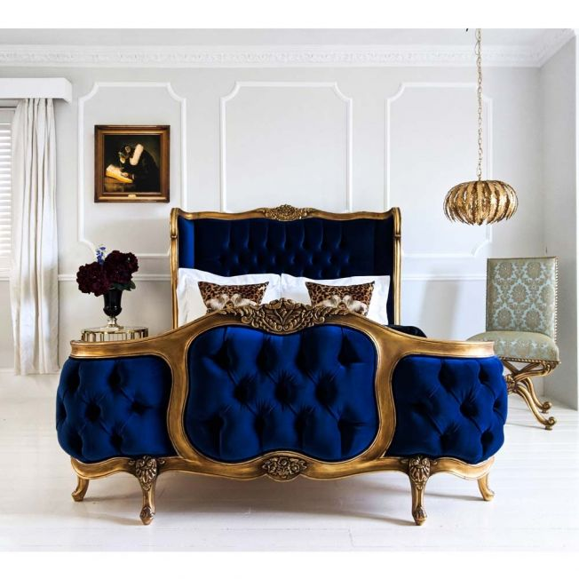 Blue and Gold Luxury Bed