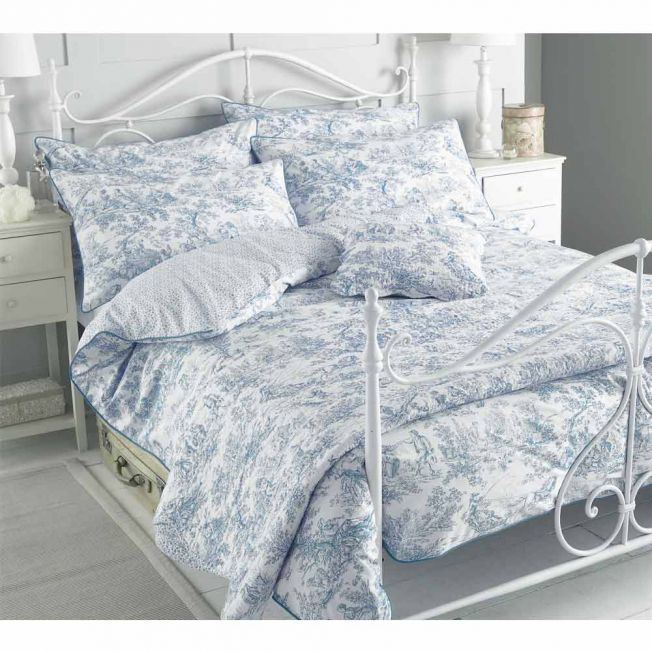 Toile French Blue Bed Linen Set