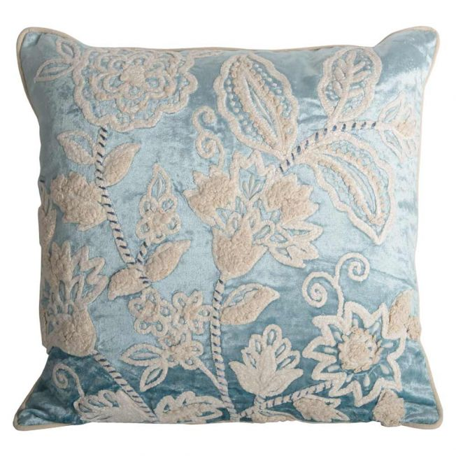 Tudor Blue Embroidered Velvet Cushion