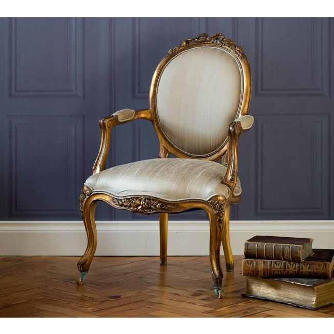 Luxury Gold Upholstered Chair