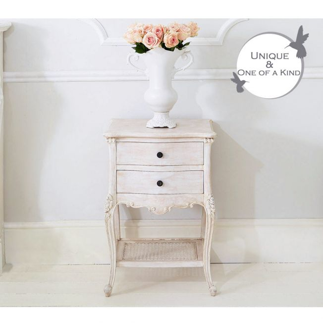 Vignette White-Washed Bedside Table