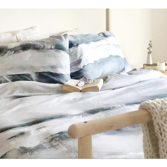 Watercolour Grey Cotton Bed Linen