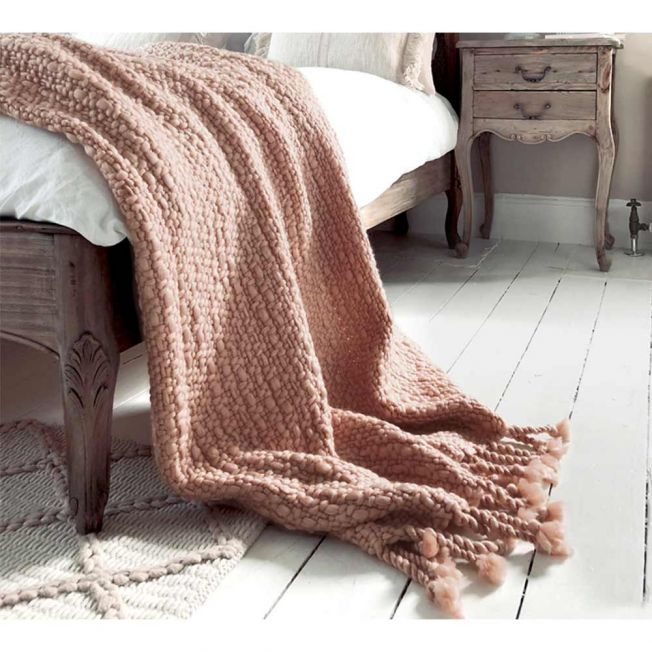 Blush Peachy Pink Knitted Blanket