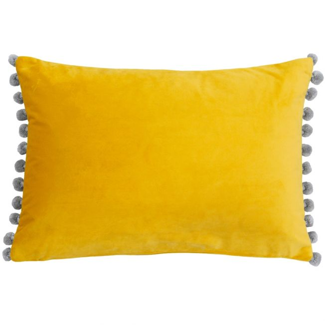 Dove Grey and Yellow Velvet Pom Poms Cushion