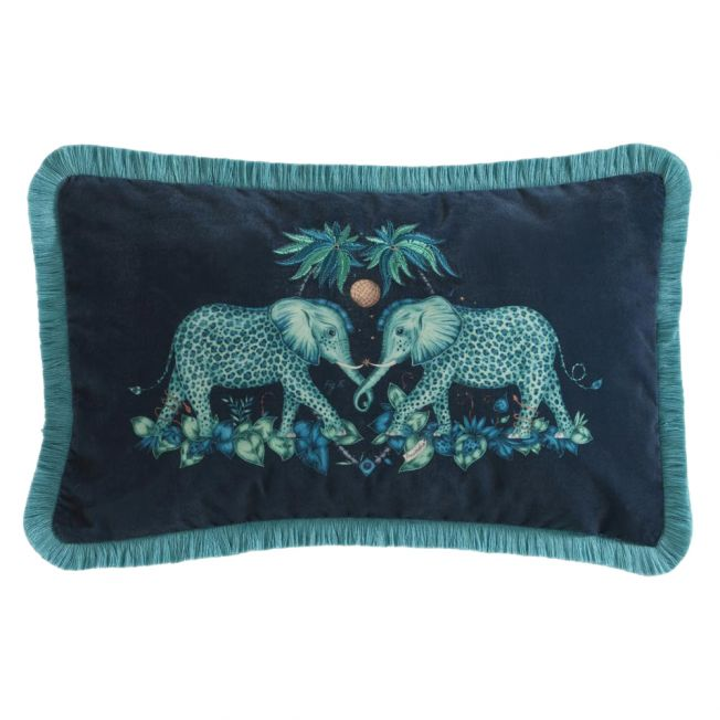 Zambezi Elephant Teal Boudoir Cushion by Emma J Shipley