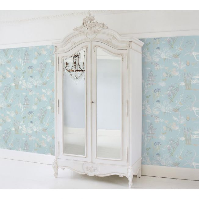 Provencal 2-Door Mirrored French Armoire Light Lifestyle