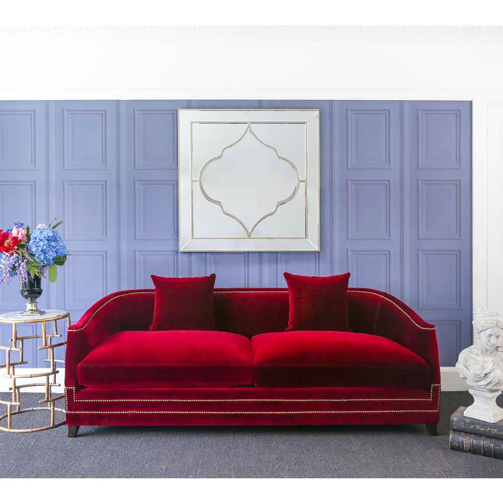 Majestic crimson red velvet sofa statement red sofa