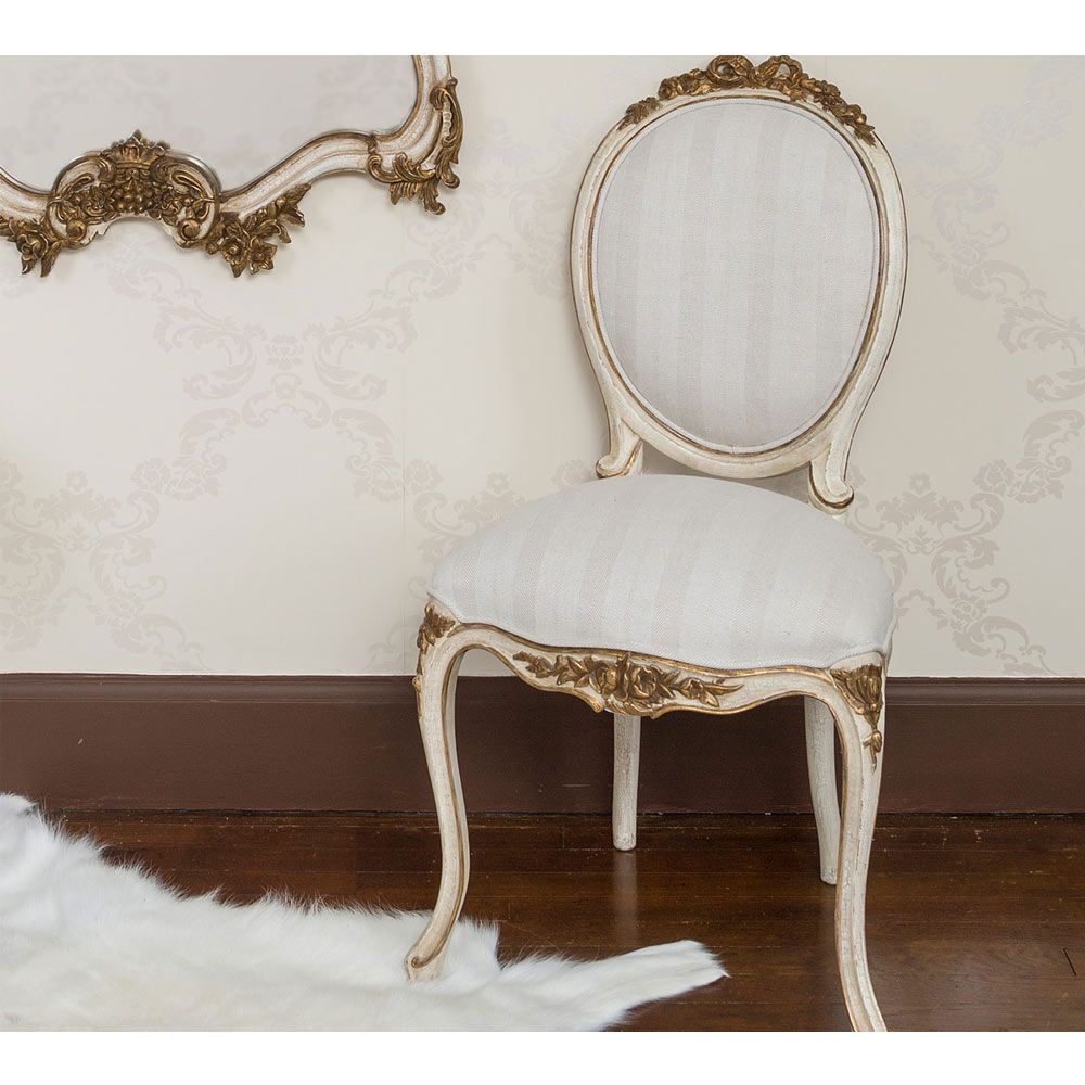 Palais Ivory & Gold French Chair | Bedroom Chair