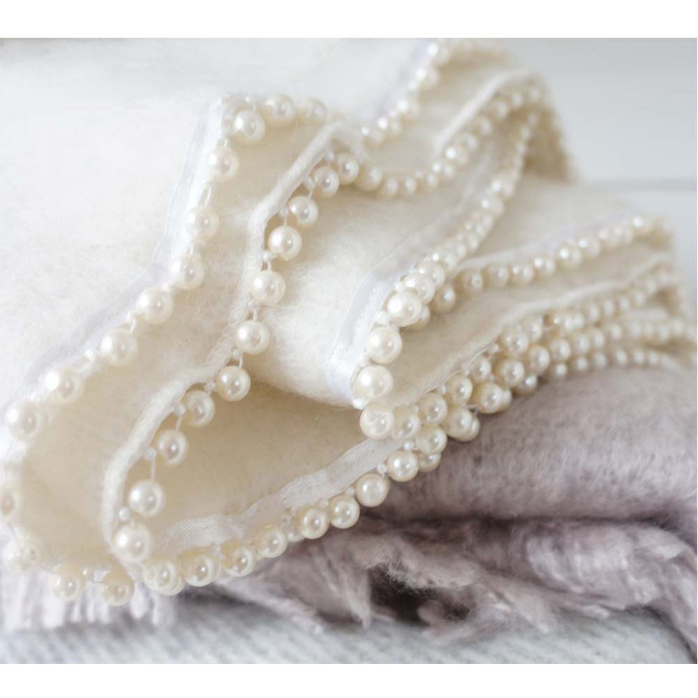 Pearly Queen Mohair Blanket, Ivory (Ex-Display)