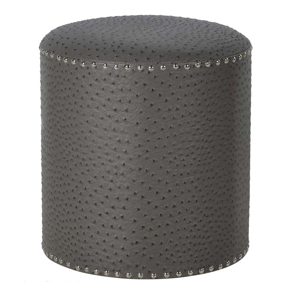 studded stool in grey faux leather luxury stool