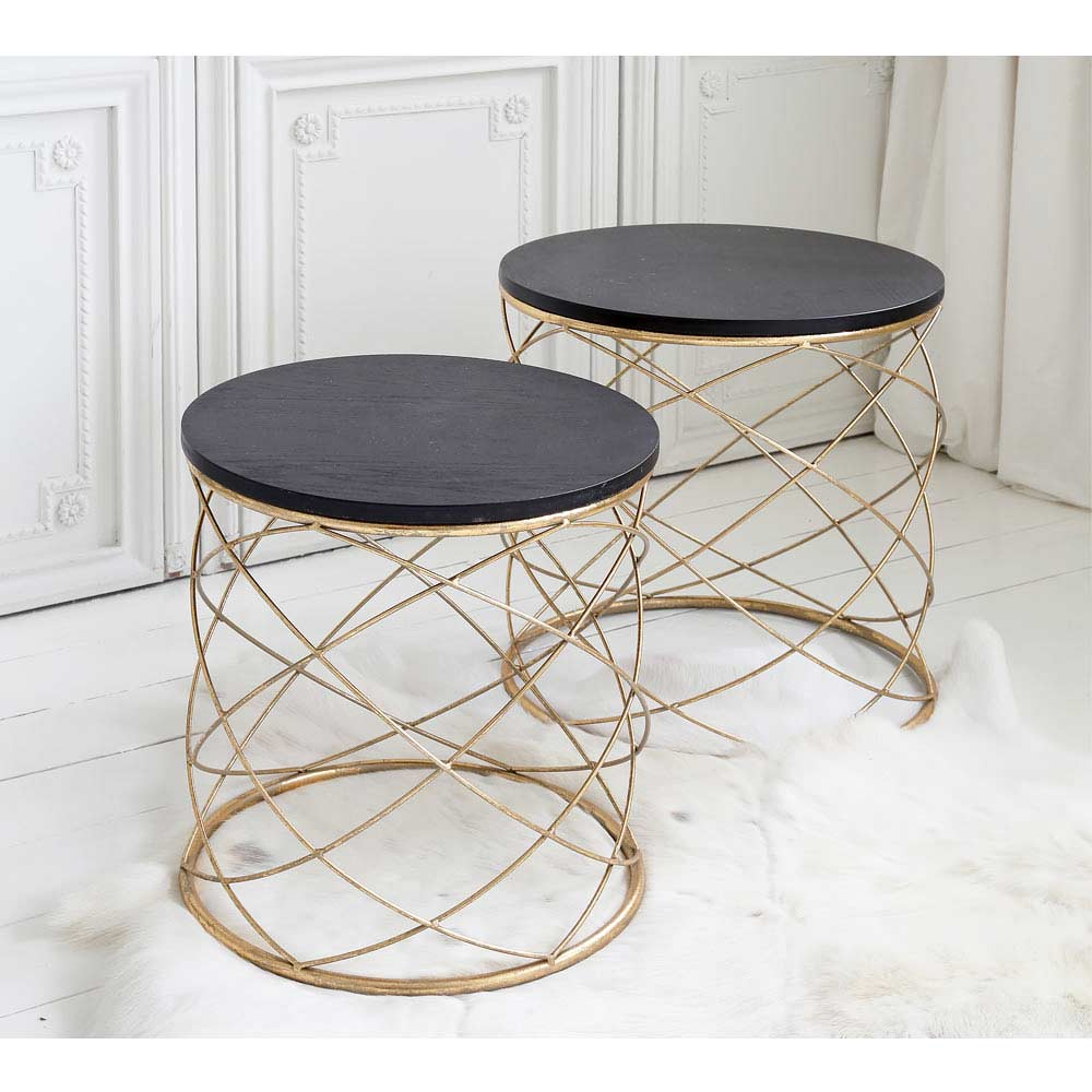 Torsade metal side table nest side table