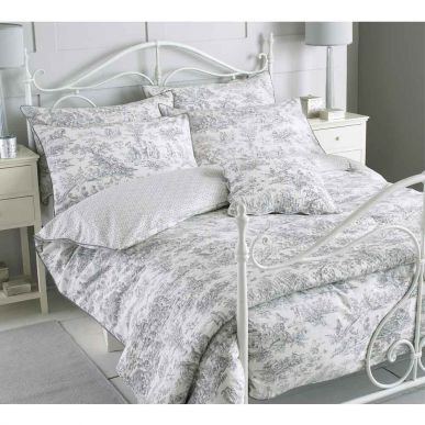 Toile French Blue Bed Linen Set, Black And Cream Toile Queen Bedding