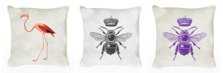 Our Natural History cushions, featuring bees and flamingos