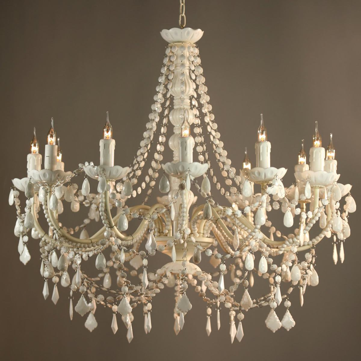 FIFI FRENCH VINTAGE STYLE WHITE & IVORY 12 ARM ACRYLIC CHANDELIER