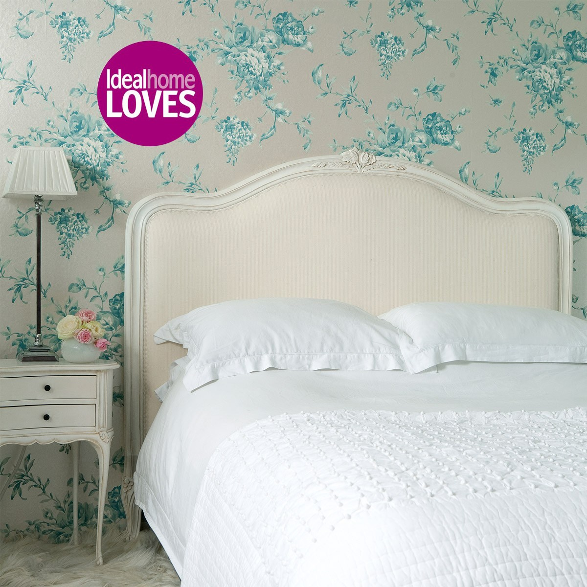 provencal upholstered white bed french bedroom company. Black Bedroom Furniture Sets. Home Design Ideas