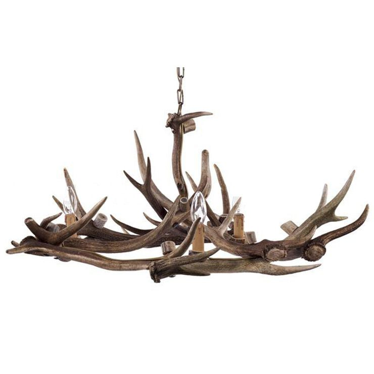 Fight Me Natural Antler Deer Chandelier French Bedroom