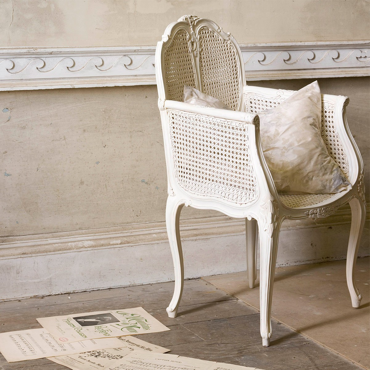 Provencal Rattan White French Chair, French Bedroom Company