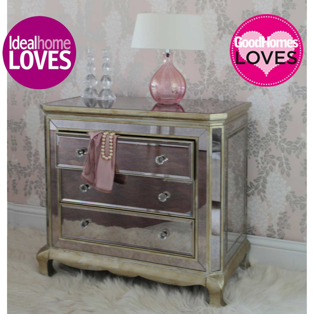 Venetian distressed 3 drawer mirrored chest of drawers image 1 by - Venetian 3 Drawer Mirrored Chest Drawers French Bedroom