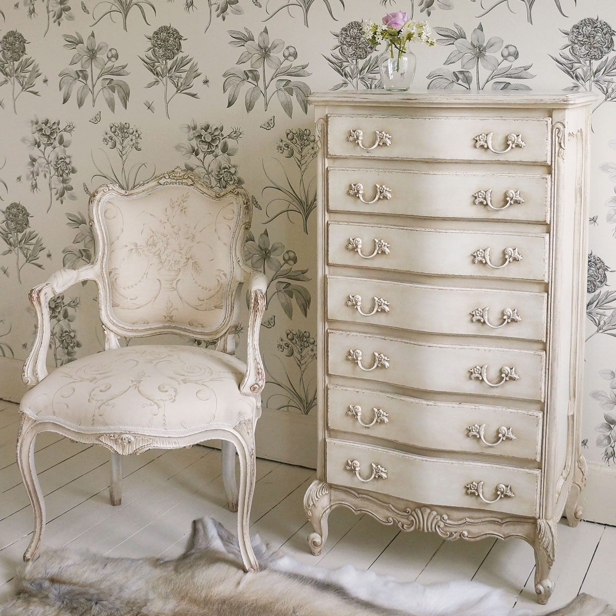 delphine shabby chic antique white tallboy french. Black Bedroom Furniture Sets. Home Design Ideas