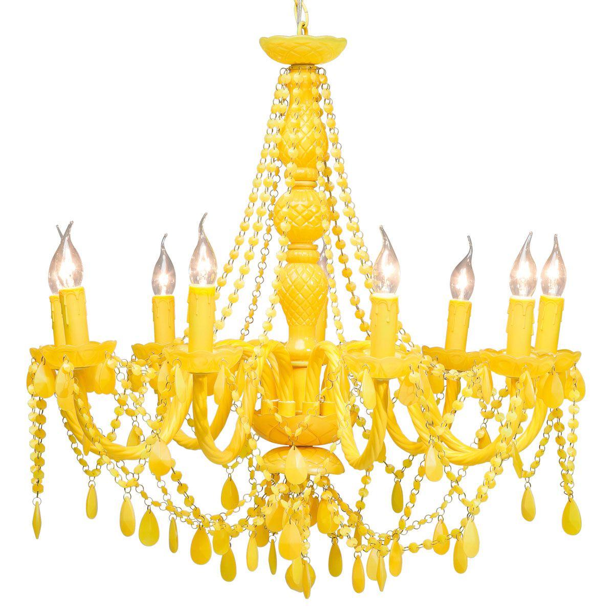 Pop Yellow Acrylic Statement Chandelier French Bedroom