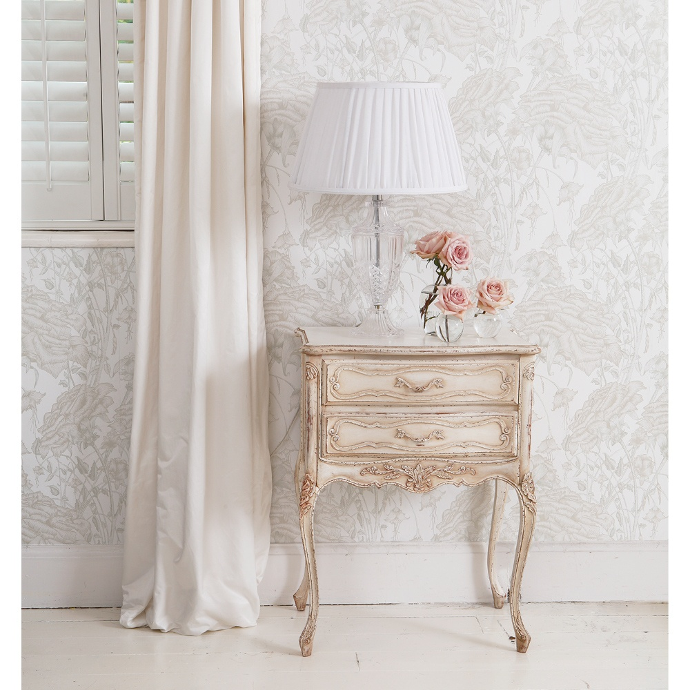 delphine distressed white bedside french bedroom company. Black Bedroom Furniture Sets. Home Design Ideas