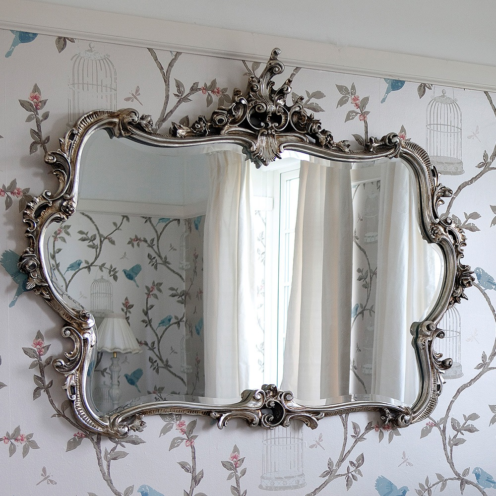 Miss lala 39 s silver looking glass ornate framed mirror french bedroom company - Bedroom wall mirrors ...